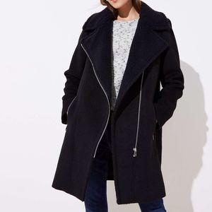 new LOFT Women's Black Faux Shearling Moto coat
